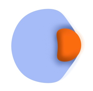 "Image of one large blue sphere with a smaller red sphere attempting to ""embed"" itself into the blue sphere. This is ultimately impossible because they are separate phenomena"